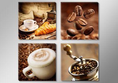 Bilder auf Leinwand 4x 30x30cm Kaffee Cafe 6603+ Marke Visario BLITZVERSAND !!