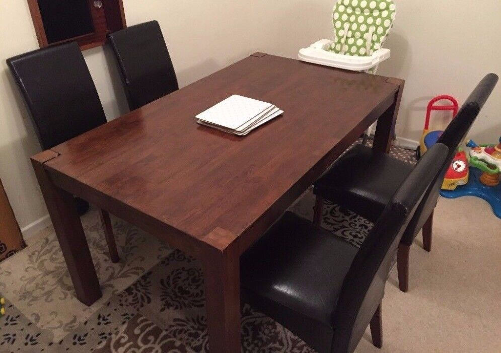 Homebase Michigan Solid Wood Dark Stained Dining Table And Chairs