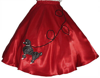Red Poodle Skirt Costume (Red SATIN 50's Poodle Skirt Adult Plus XL/3XL Waist 40