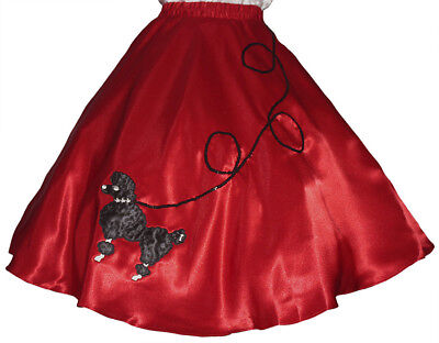 Red SATIN 50's Poodle Skirt Adult Plus XL/3XL Waist 40
