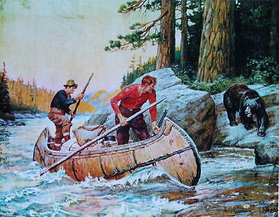 Hunters Canoe Bear by Phillip Goodwin Vintage art