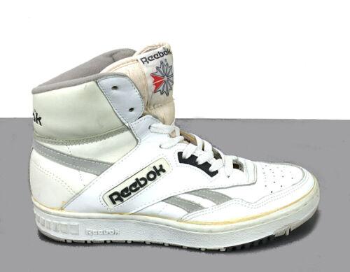 VTG 80s Reebok Basketball Hi Top Shoes BB4600 in White Gray Men