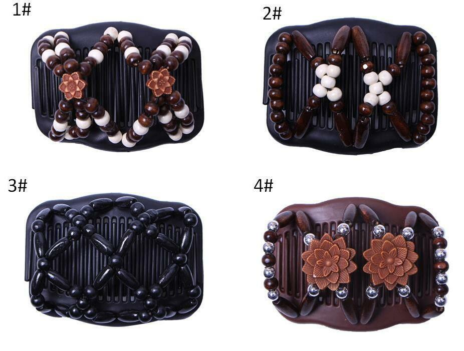 Butterfly Wood Hair Clip Beads Stretch Double Slide Comb Wom