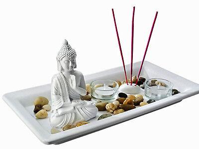 Teelichthalter Set BUDDHA Zen-Garten Figur Räucherstäbchen Asia Feng Shui Neu
