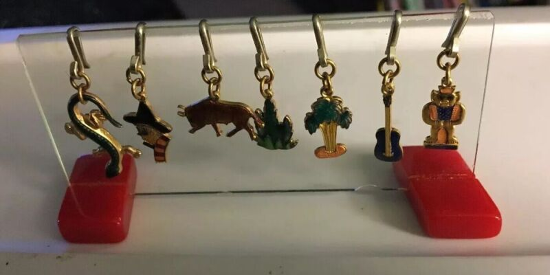 Vintage Charm Holder Bakelite Celluloid Plastic With Charms