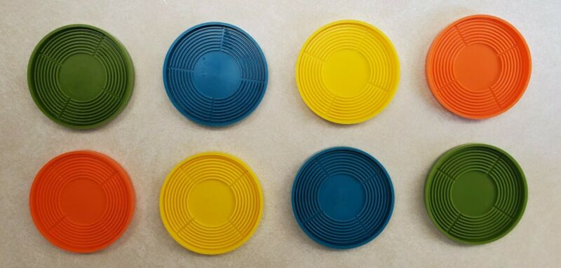 Retro 1970s Hard Plastic Stackable Coasters Set of 8 - Teraco Line USA