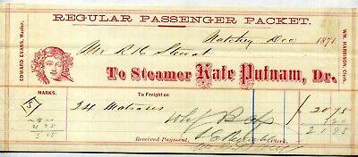 "STEAMBOAT FREIGHT BILL ""Kate Putnam"" 1871"