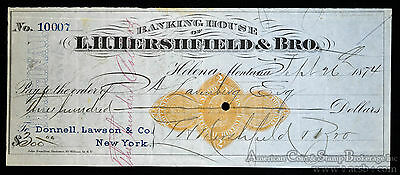 Obsolete Bank Check 1874 Lh Hershfield   Brother Check Helena Montana Territory