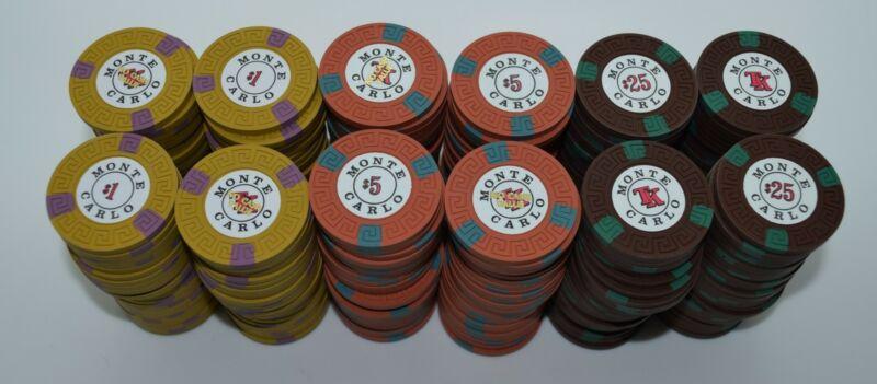 Set of 300 Monte Carlo $1-$5-$25 Casino Chips Reno Nevada Lg-Key Mold 1970