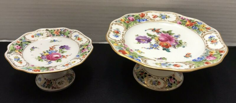 2 Vintage Dresden Carl Thieme Pedestal Cake Plate Comport Stand Reticulated ****