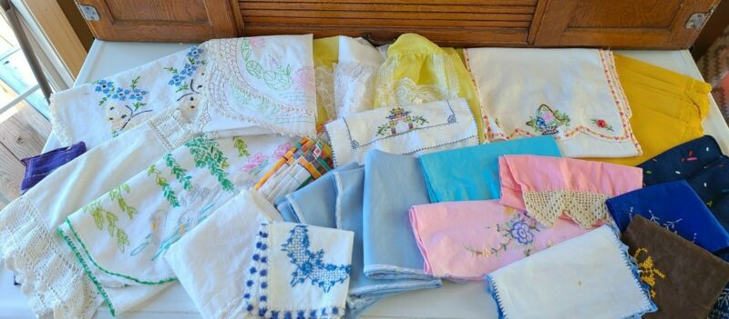 Vintage Lot Of CUTTER Linens Doilies Crocheted Pieces Aprons