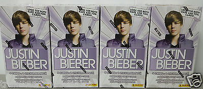 2010 JUSTIN BIEBER PANINI FOUR (4) BOX LOT LOOK FOR RARE & FOIL CARDS