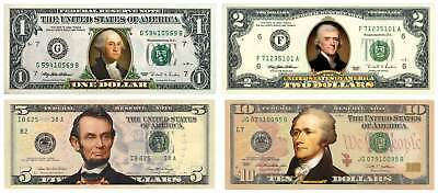 Set of 4 COLORIZED 2-SIDED US Bills Currency $1/$2/$5/$10 Legal Tender Banknotes
