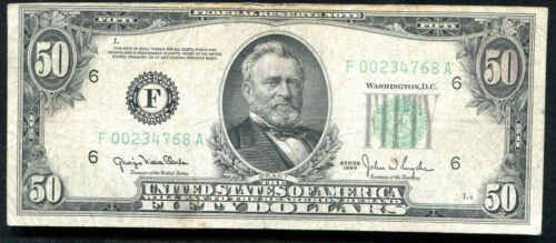 "1950 $50 FRN FEDERAL RESERVE NOTE ""REVERSE PRINT SHIFT ERROR"""