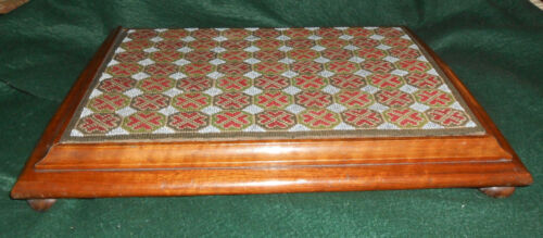 ANTIQUE VICTORIAN EMBROIDERED AND BEADED TEA TRAY W/ WALNUT FRAME & BUN FEET