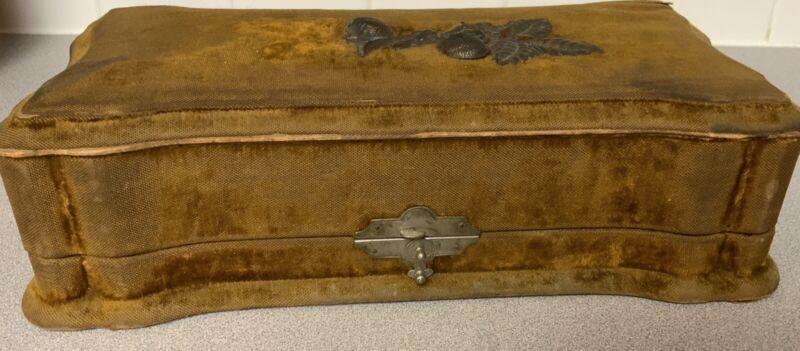 large Antique Victorian Vanity Dresser Box - Gold Velvet Plush Satin Lined