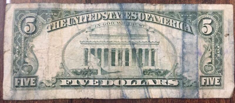 5 DOLLAR US BILL1995 U.S PAPER CURRENCY INK ERROR VERY RARE L SERIES L12
