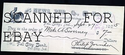 1895 News Publishing Company Rooster Tell City Indiana ORIGINAL Bank Check - Party City News