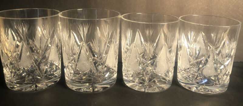 "Vintage 4 Cut Crystal Lowball Rocks Glasses Star pattern 4"" Tall"