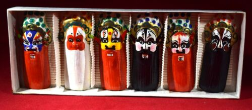 Vintage Chinese Hand Painted Ceramic Miniature Opera Mask Set 6 pc. In orig. Box