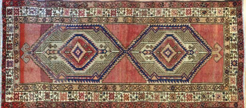 Terrific Tribal - 1930s Antique Oriental Rug - Camel Hair Carpet - 3.3 X 6.7 Ft.