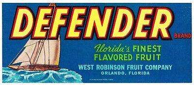 DEFENDER ORANGE CRATE LABEL FLORIDA STRIP ORLANDO 1930S SAILING YACHT NAUTICAL