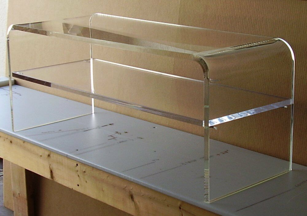 Acrylic Coffee Cocktail Table Lucite With Shelf For Magazines Etc Picclick