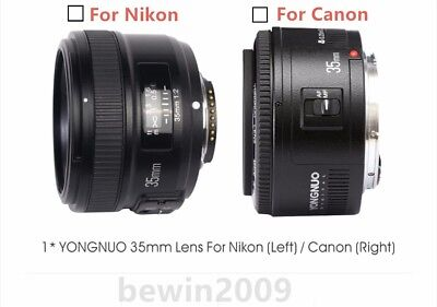 YONGNUO YN35MM F2 Wide-angle AF/MF Fixed Focus Lens for Nikon / Canon EOS