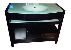 "Solid oak wood vanity - Buy a shower system or bathtub and get this designer 42"" one piece tempered glass top for $499"