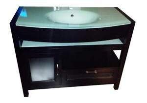 Solid oak wood vanity - Buy a shower system or bathtub and get this designer 42 one piece tempered glass top for $499