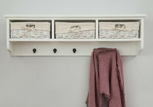 White Wall Shelf Unit with Three Wicker Drawers and Five Hooks Hallway Unit