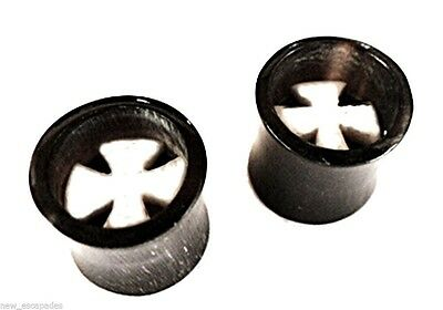 Bone Inlay Body Jewelry Tunnels - PAIR-Horn w/Iron Cross Bone Inlay Saddle Flare Ear Tunnels 10mm/00 Gauge Body Je