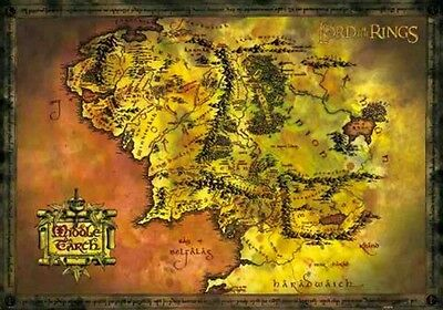 LORD OF THE RINGS MIDDLE EARTH MAP POSTER PRINT NEW 36x24 FREE SHIP