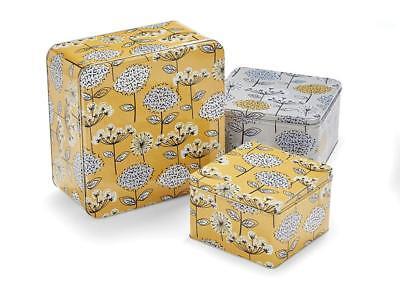 Retro Meadow Design Square Cake Storage Tin Gift Box
