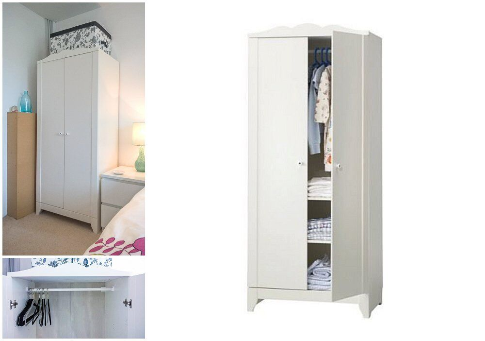 ikea hensvik wardrobe with 1 shelf really good conditio small double wardrobe white in. Black Bedroom Furniture Sets. Home Design Ideas
