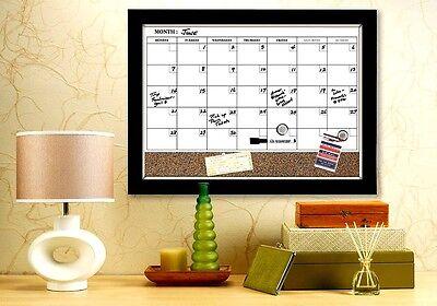 White Board Dry Erase Cork Calendar Magnetic Espresso Frame Marker Holiday Work ()
