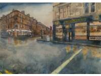Byres Rd, Tennents, Tinderbox. Original Watercolour/Ink