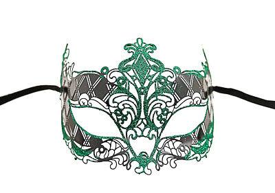 Mask Lace Metal from Venice Green Bright Fancy Venetian 713