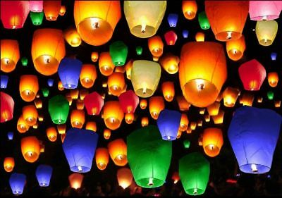 50pcs Mix Color Chinese Paper Lanterns Sky Fire Fly Candle Lamp for Wedding Wish
