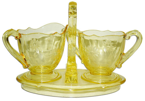 Lancaster Glass Company Yellow Jubilee Sugar / Creamer and Tray