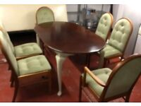 ITALIAN STYLE TABLE AND 6 CHAIRS. EX. CONDITION