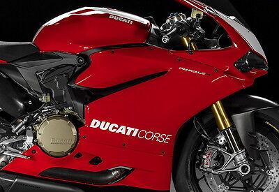 DUCATI Corse Aufkleber 1299 1199 899 959 Panigale Seitenverkleidung Paar Weiß