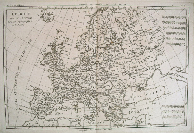 1780 Genuine Antique map of Europe by Rigobert  Bonne