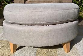 Ex-display Oatmeal Fabric Material Half-moon Footstool.