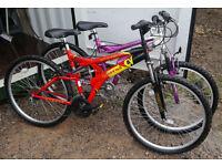 "2 x Universal unisex full suspension mountain bikes, 18"" medium frame, 26"" wheels"
