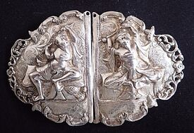 Beautiful Silver Antique BELT BUCKLE Nurses/Indian