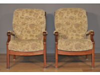 Attractive Vintage Pair of Cream Upholstered Fireside Easy Armchairs Arm Chairs