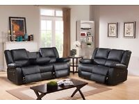 TANGIERS 3 AND 2 SEATER LEATHER RECLINER SOFA - BRAND NEW