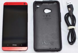 HTC ONE M7 RARE IN RED, UNLOCKED, USED, BOXED WITH OTTER-BOX CASE AND RECEIPT