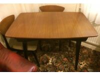 Vintage 1950's Dining Table and 4 Chairs